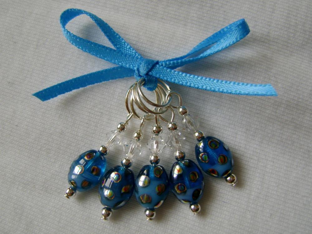 Peacock Spot Mini Lozenge - blue