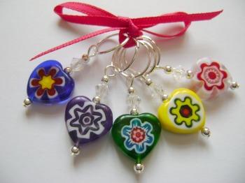 Millefiori Single Flower Hearts - set 2