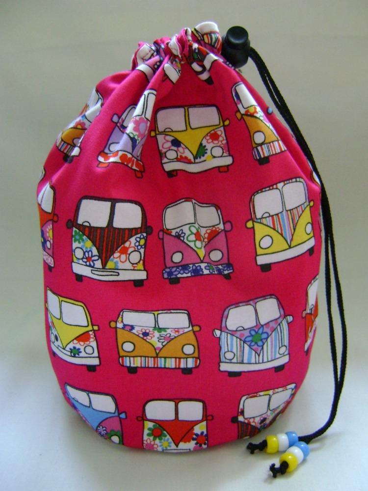 Camper Vans Project Bag - fuschia pink