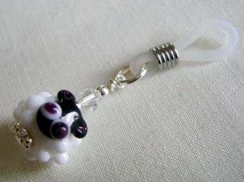 White Glass Sheep Needle Holder