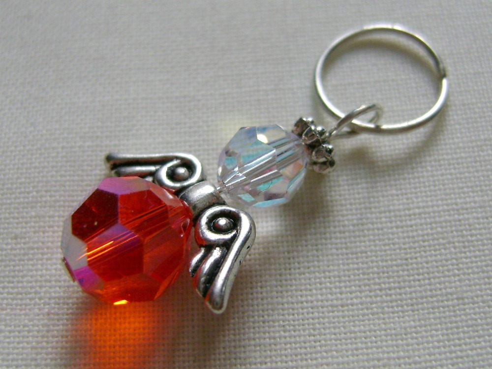 Hand Beaded Swarovski Crystal Angel Charm/Stitch Marker #3