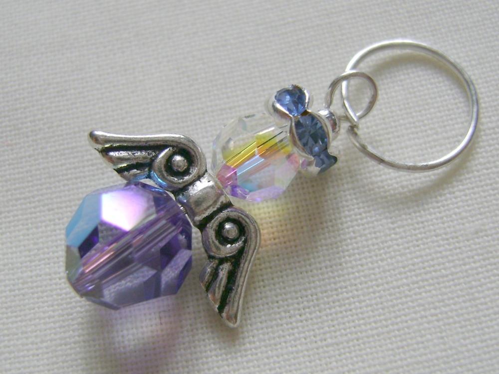 Hand Beaded Swarovski Crystal Angel Charm/Stitch Marker #4