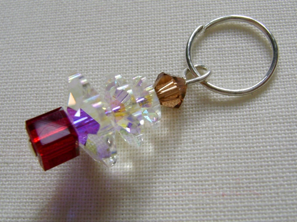 Hand Beaded Swarovski Crystal Christmas Tree Charm/Stitch Marker #2