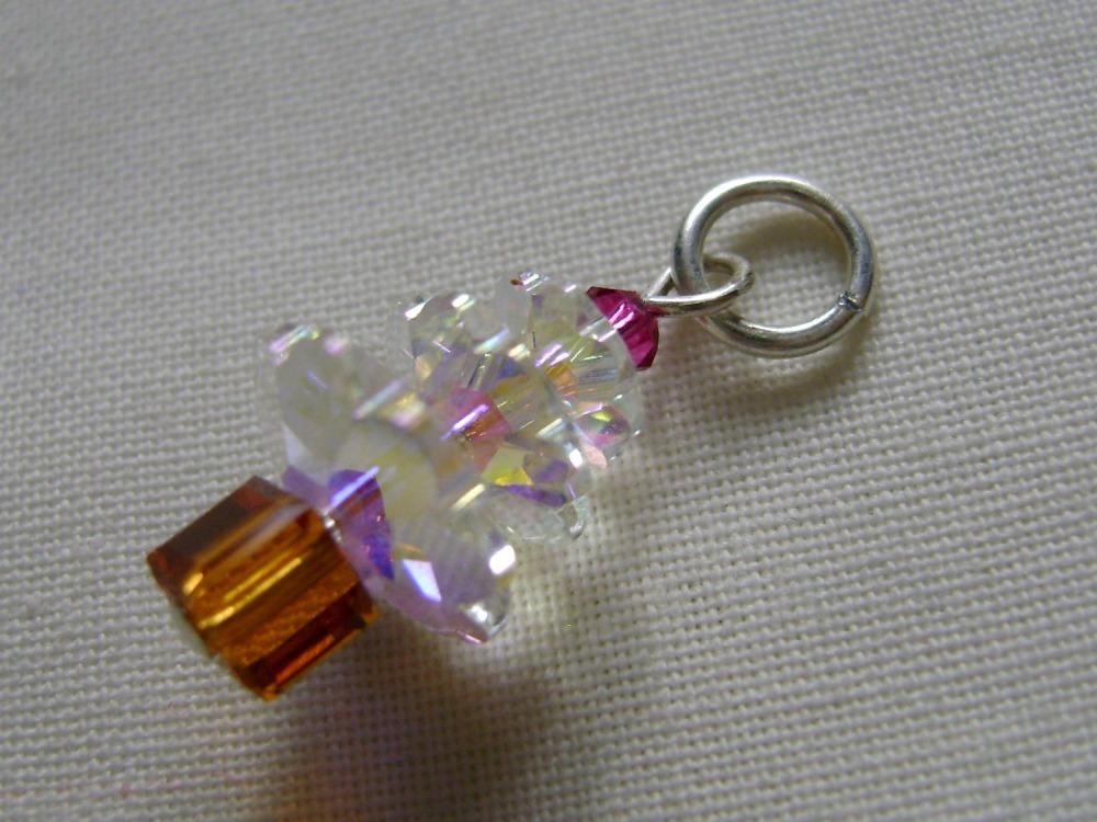 Hand Beaded Swarovski Crystal Christmas Tree Charm/Stitch Marker #3