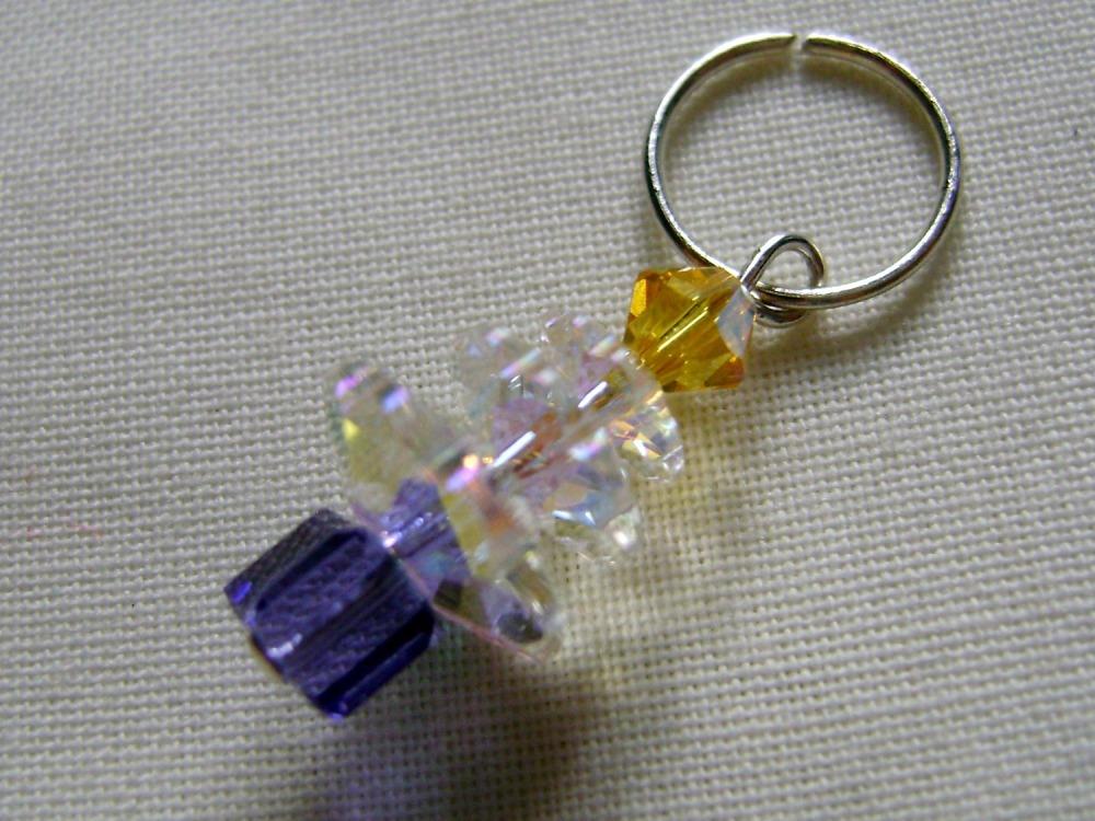Hand Beaded Swarovski Crystal Christmas Tree Charm/Stitch Marker #5