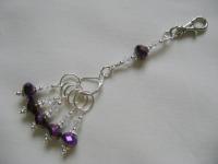 <!-- 001 -->Purple Iris Stitch Marker Holder and Stitch Marker Set
