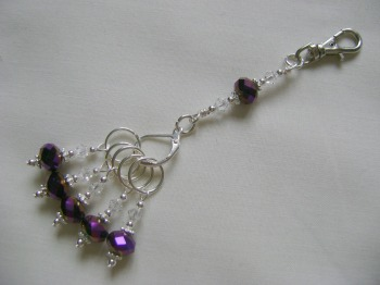 Purple Iris Stitch Marker Holder and Stitch Marker Set