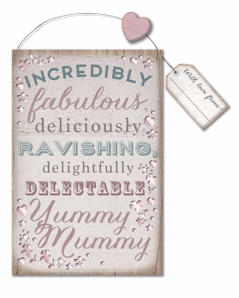 Die Cut Mirrored Shabby Chic Plaque - Yummy Mummy