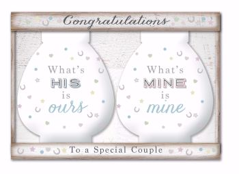 Whats his is ours, Whats mine is mine - money saving pots (pair)