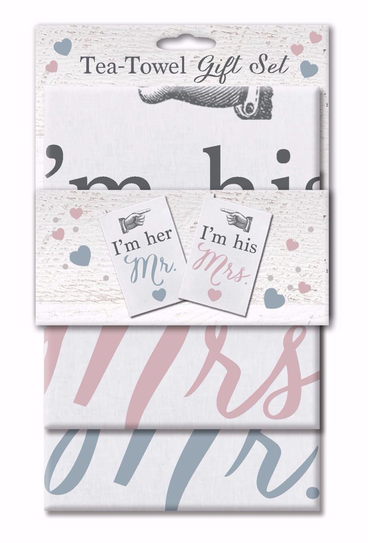 Tea Towel Set Set, Wedding Gift- I'm Her Mr, I'm His Mrs