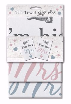 Tea Towel Set Set, Wedding Gift- I'm Her Mr, I'm His Mrs