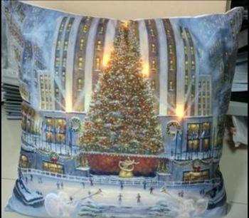 lED lit twinkle Christmas tree cushion