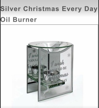 Oil /wax burner - mirrored glass, I Wish It Could Be Xmas Everyday