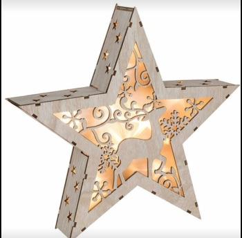 Wooden LED lit Reindeer Star