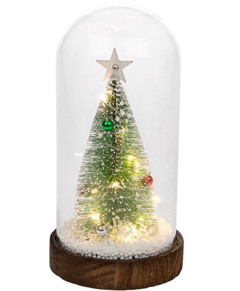 Christmas Bauble Tree in Glass LED Dome