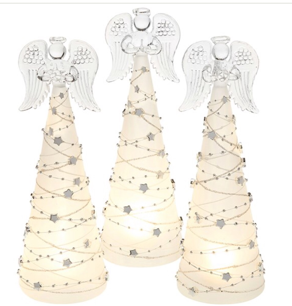 Glass large LED standing angel with silver stars (priced each)