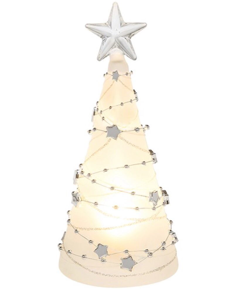 Glass LED Tree with silver stars (price each)