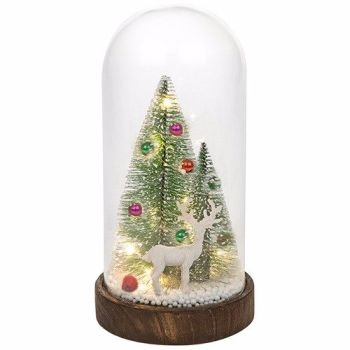 Christmas Bauble Tree & Stag  in Glass LED Dome