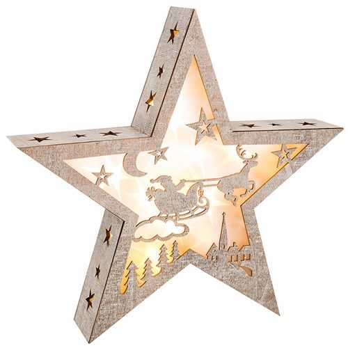Wooden LED Xmas Night Santa Star