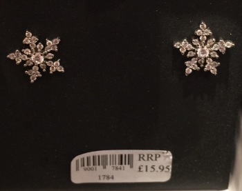 Snowflake  earrings (clear stones)  (pierced)