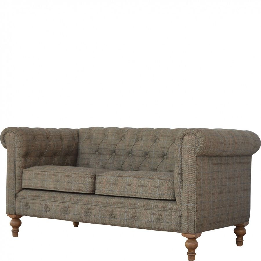 Tweed upholstered Two Seater Chesterfield Sofa