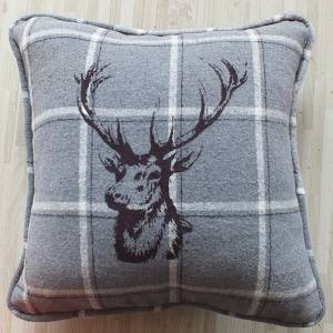Grey Stags Head Cushion 45 x 45cm (with inner)