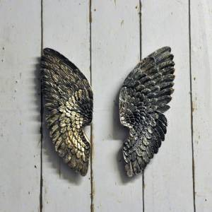 Decorative antique silver coloured resin left and right wings
