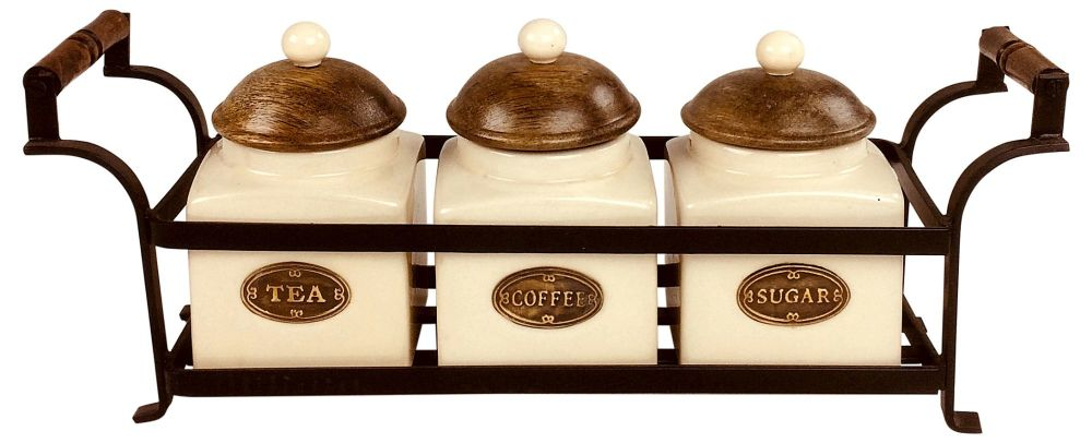 Metal Stand with 3 Jars