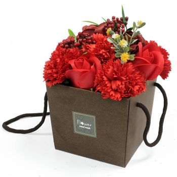 Soap Flower Bouquet - Red Rose & Carnation