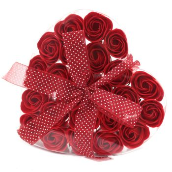 Soap Flower  - Set of 24 red Soap Flower Heart Box