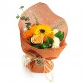 Soap Flower Standing Bouquet - Orange
