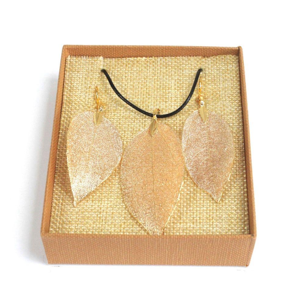 Necklace & Earring Set - Bravery Leaf - Gold