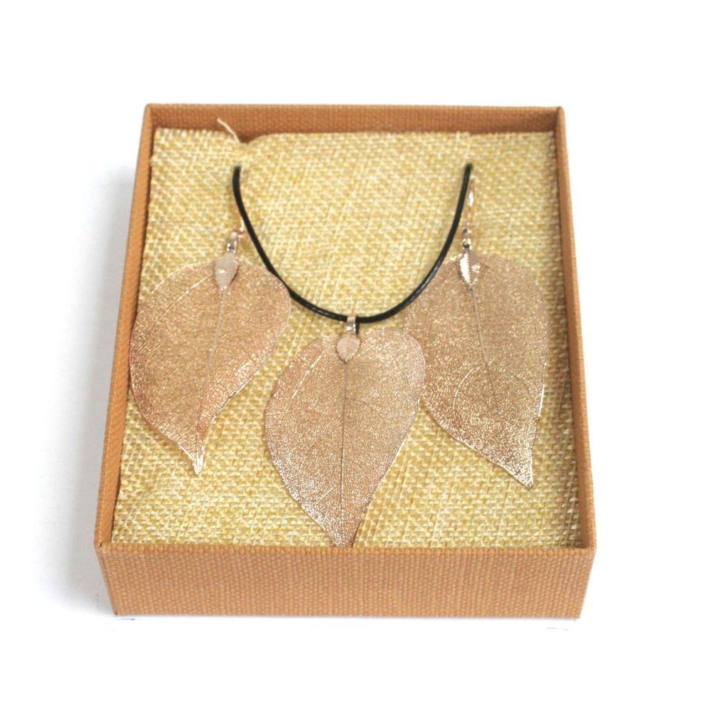Necklace & Earring Set - Bravery Leaf - Rose Gold