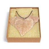 Necklace & Earring Set - Heart Leaf - rose gold