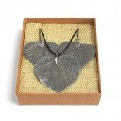 Necklace & Earring Set - Heart Leaf - pewter