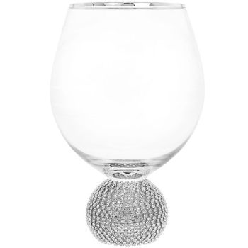 Glitter Ball Silver Short Wine Glass