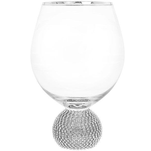 Glitter Ball Silver Short Wine Glass