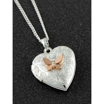 Polished two tone butterfly locket