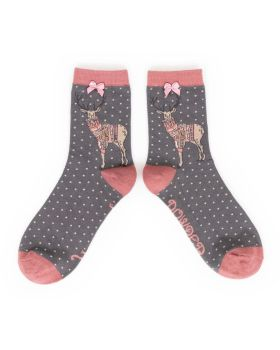 Jumper Stag Bamboo Socks (pink/grey)