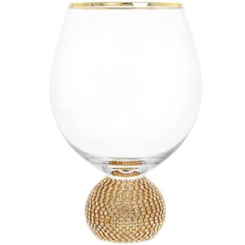 Glitter Ball Gold Short Wine Glass