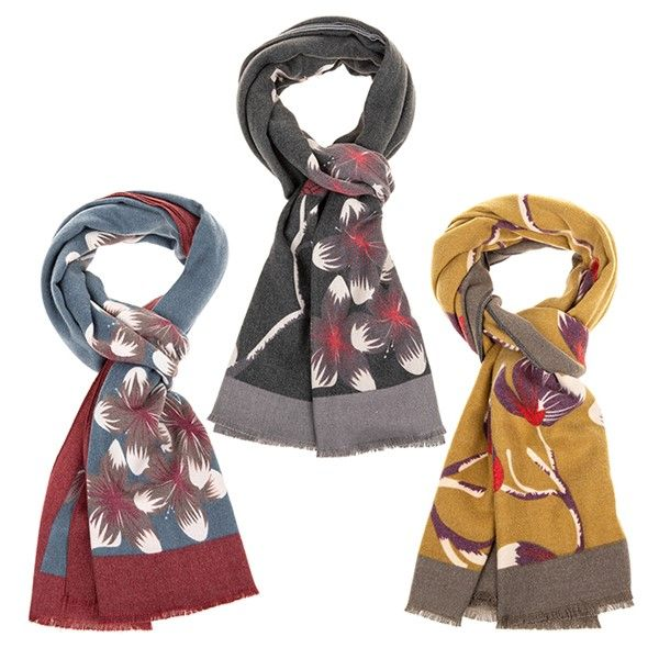 Floral Cashmere Feel Scarf - grey