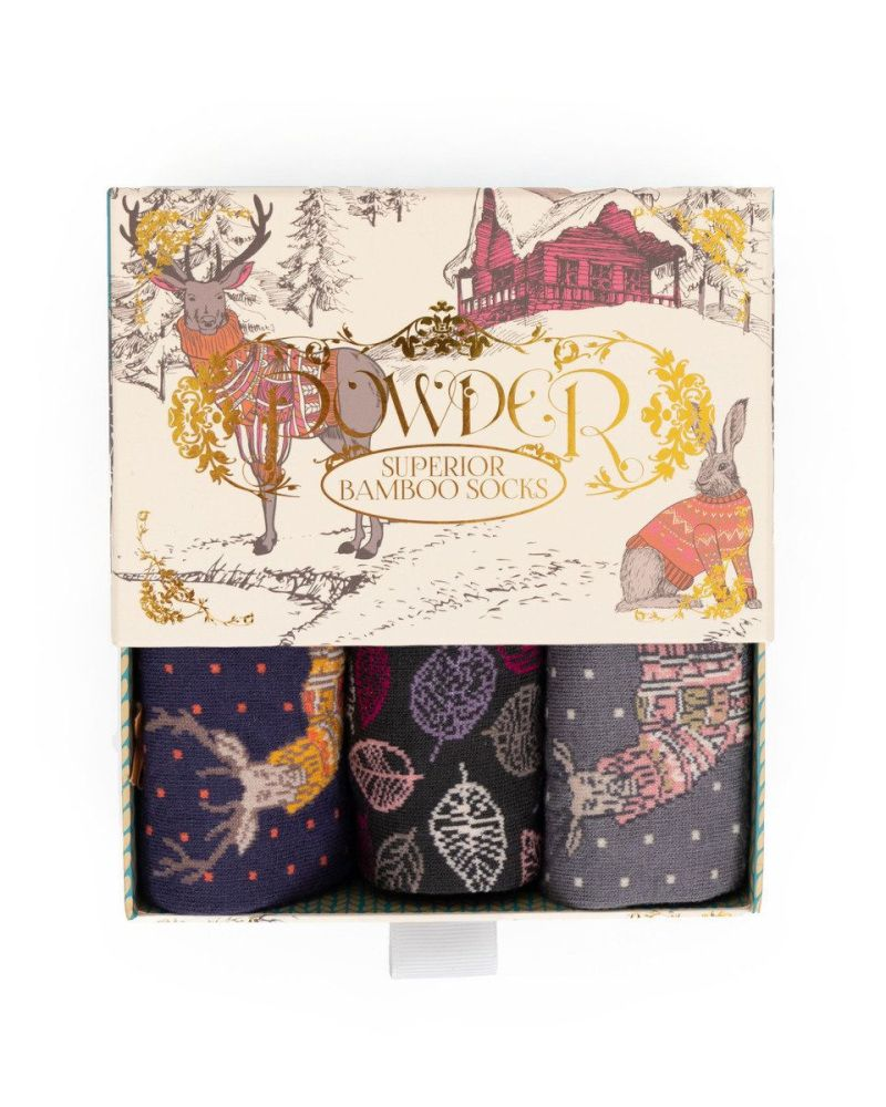 Cosy Forest Friends - Ladies Sock Gift box set of 3
