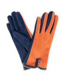 Amanda Faux suede gloves - Tangerine