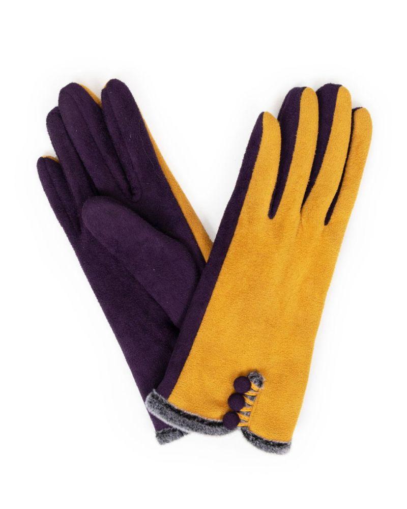 Amanda Faux suede gloves - mustard