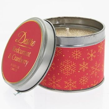 Desire Xmas Candle Tin Cranberry