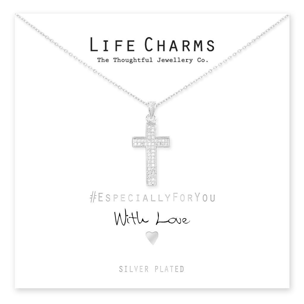 CZ Pave Crystal Cross Necklace