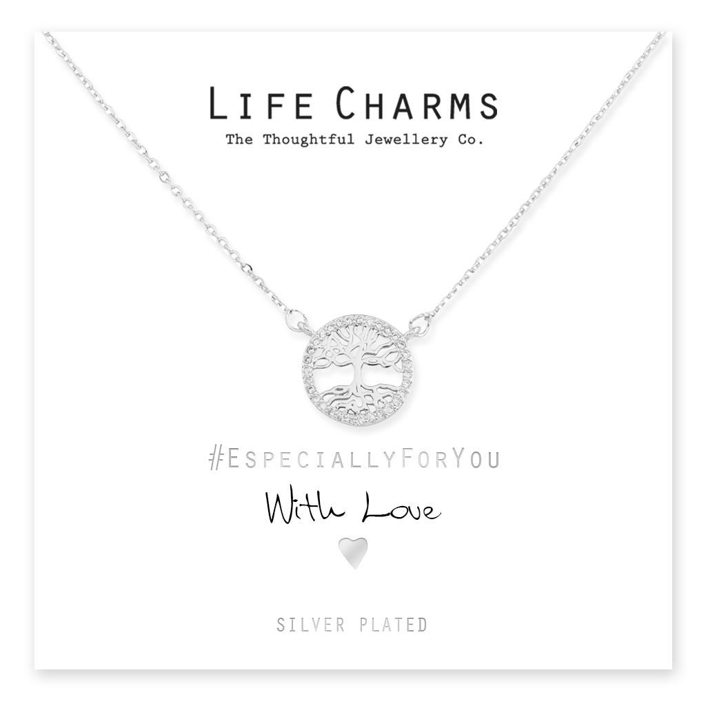 Silver CZ Crystal Tree Of Life Oval Necklace