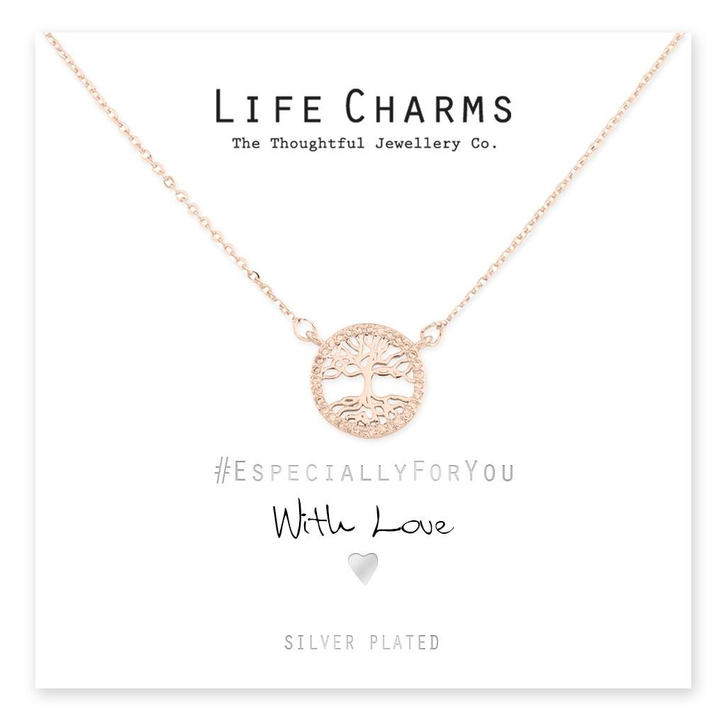 rose gold CZ Crystal Tree Of Life Oval Necklace