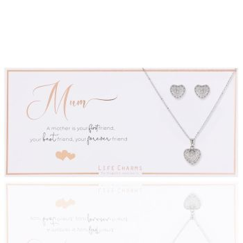 """pendant necklace and stud earrings in """"Mum"""" gift box"""