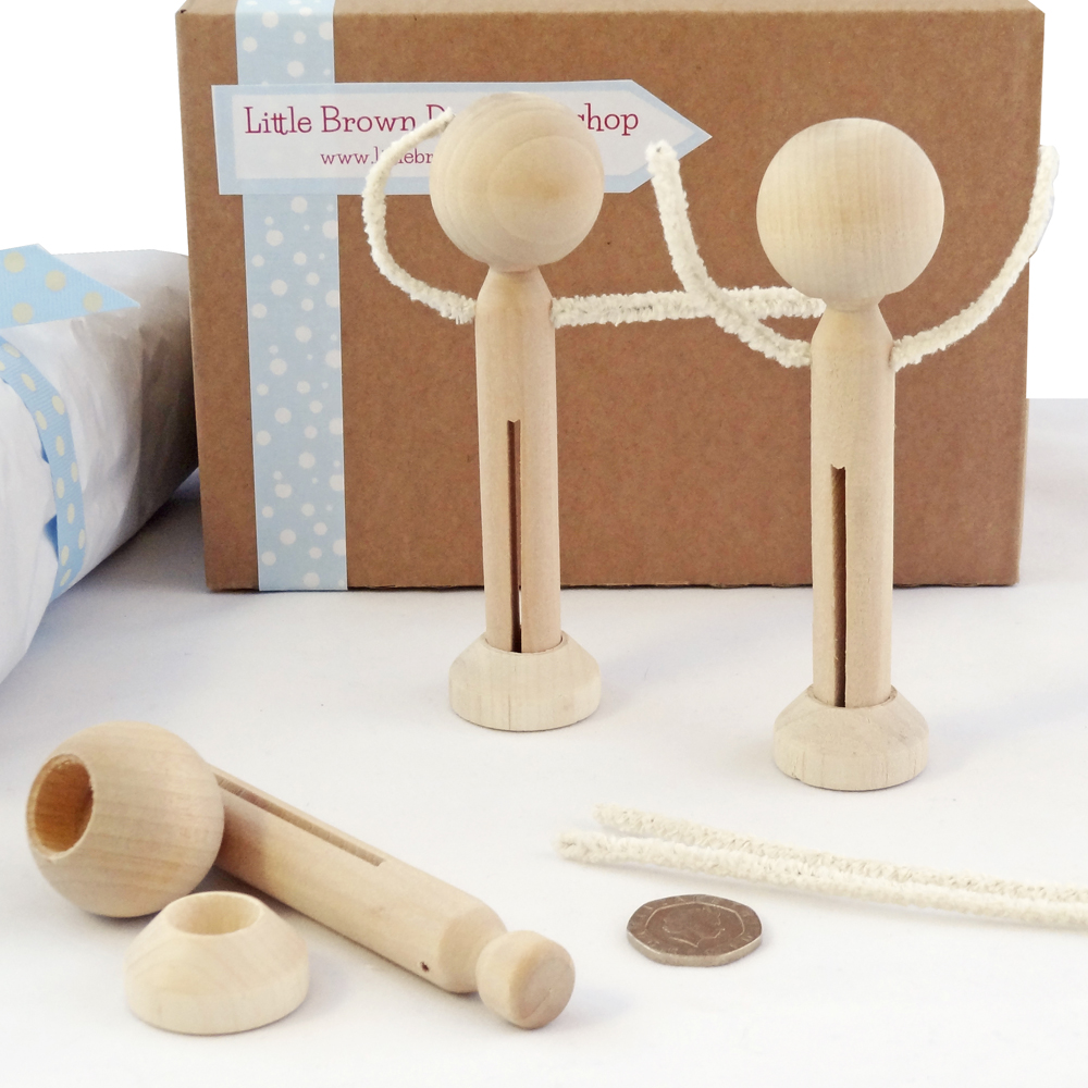Heads, pegs, arms & stands to make 3 peg dolls with arms